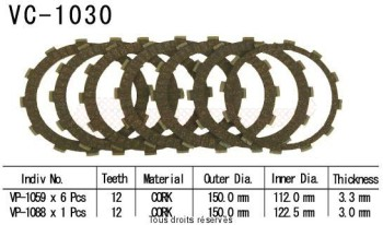 Product image: Kyoto - VC1030 - Clutch Plate kit complete Xr650 R 00 05