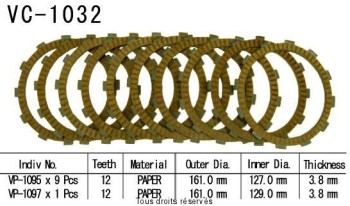 Product image: Kyoto - VC1032 - Clutch Plate kit complete Gl1500 Se Gold Wind 90-00