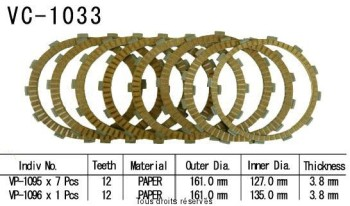 Product image: Kyoto - VC1033 - Clutch Plate kit complete Gl1800 Gold Wind 01-02