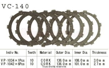 Product image: Kyoto - VC140 - Clutch Plate kit complete Cb250/350/450 80-86