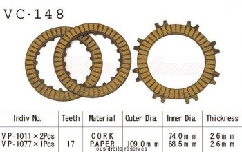 Product image: Kyoto - VC148 - Clutch Plate kit complete Xr70 R 91-03