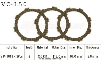 Product image: Kyoto - VC150 - Clutch Plate kit complete Mtx50 84-90