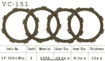 Product image: Kyoto - VC151 - Clutch Plate kit complete Mtx80 S/R 80-87