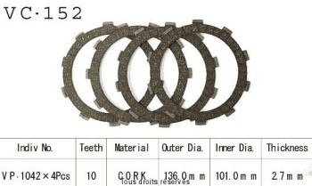Product image: Kyoto - VC152 - Clutch Plate kit complete Xl250 S 78-82