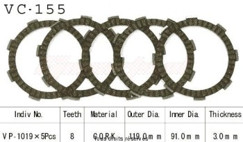 Product image: Kyoto - VC155 - Clutch Plate kit complete  Cross Cm125 C 82-99