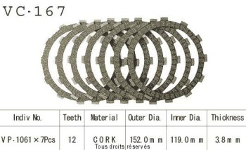 Product image: Kyoto - VC167 - Clutch Plate kit complete Xrv750 Africa Twin 90-02