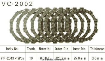 Product image: Kyoto - VC2002 - Clutch Plate kit complete Fzr 600 R 89-93