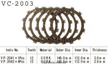 Product image: Kyoto - VC2003 - Clutch Plate kit complete Xv 125 Virago 97-00