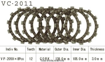 Product image: Kyoto - VC2011 - Clutch Plate kit complete  Cross Yz 125 93-07