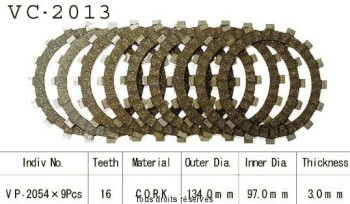 Product image: Kyoto - VC2013 - Clutch Plate kit complete Yzf 600 R 95-96