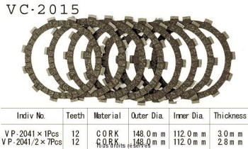 Product image: Kyoto - VC2015 - Clutch Plate kit complete Wr 400 F 98-00