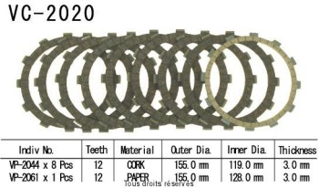 Product image: Kyoto - VC2020 - Clutch Plate kit complete Fzs 600 Fazer 00-
