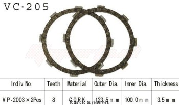 Product image: Kyoto - VC205 - Clutch Plate kit complete Dt 50 Mx 81-88