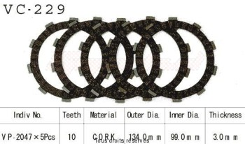 Product image: Kyoto - VC229 - Clutch Plate kit complete Tw 200 89-99