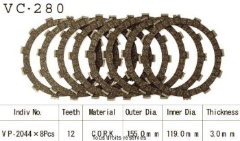 Product image: Kyoto - VC280 - Clutch Plate kit complete  Cross Yz/Wr 250 92-02