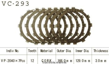 Product image: Kyoto - VC293 - Clutch Plate kit complete Rd 500 Lc 84-86