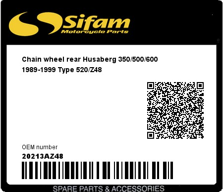Product image: Sifam - 20213AZ48 - Chain wheel rear Husaberg 350/500/600 1989-1999 Type 520/Z48