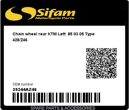Product image: Sifam - 25244AZ46 - Chain wheel rear KTM Left  85 03 05 Type 428/Z46