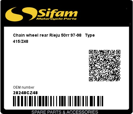 Product image: Sifam - 28248CZ48 - Chain wheel rear Rieju 50rr 97-98   Type 415/Z48