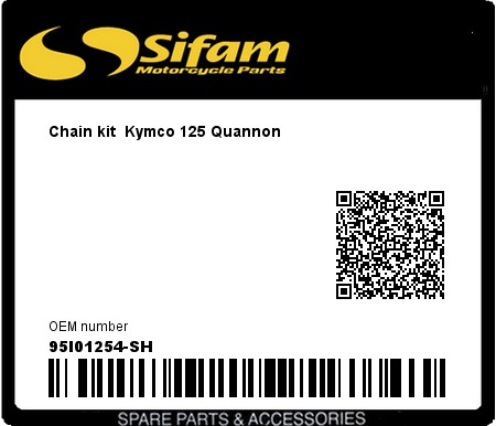 Product image: Sifam - 95I01254-SH - Chain kit  Kymco 125 Quannon