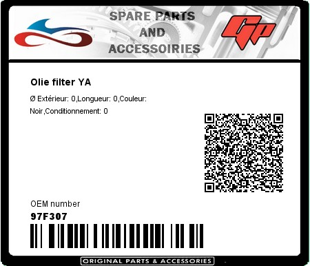 Product image: Champion - 97F307 - Olie filter YA