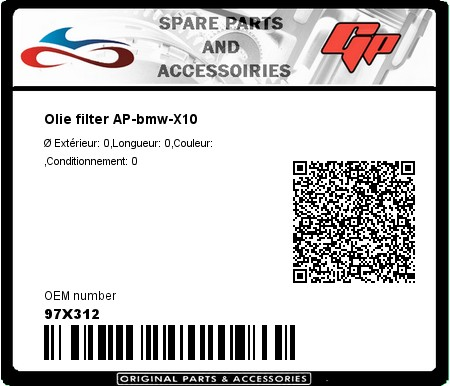 Product image: Champion - 97X312 - Olie filter AP-bmw-X10