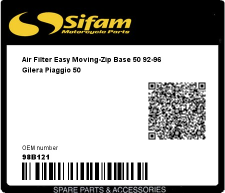 Product image: Sifam - 98B121 - Air Filter Easy Moving-Zip Base 50 92-96  Gilera Piaggio 50