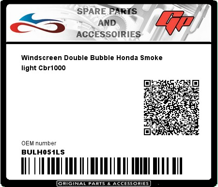 Product image: Fabbri - BULH051LS - Windscreen Double Bubble Honda Smoke light Cbr1000