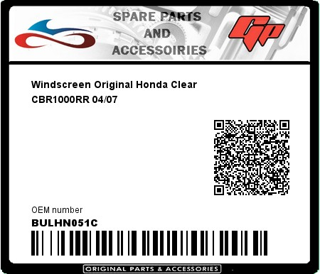 Product image: Fabbri - BULHN051C - Windscreen Original Honda Clear CBR1000RR 04/07