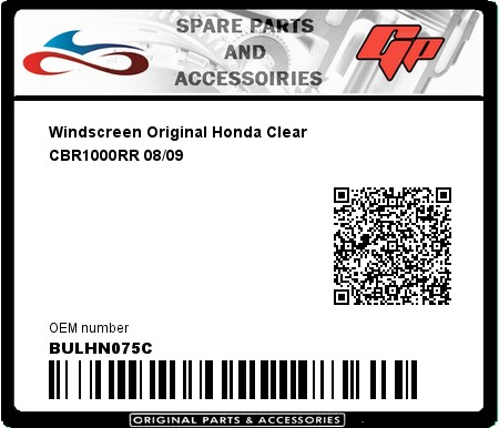 Product image: Fabbri - BULHN075C - Windscreen Original Honda Clear CBR1000RR 08/09