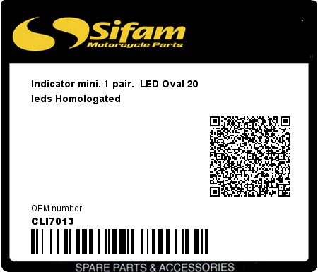Product image: Sifam - CLI7013 - Indicator mini. 1 pair.  LED Oval 20 leds Homologated
