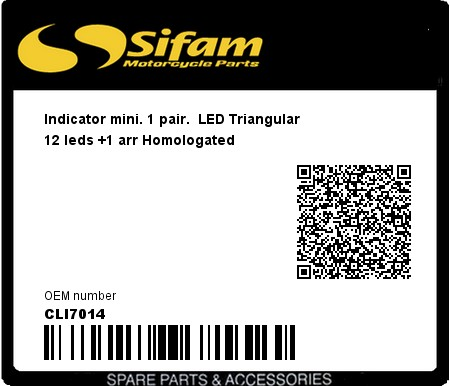 Product image: Sifam - CLI7014 - Indicator mini. 1 pair.  LED Triangular 12 leds +1 arr Homologated