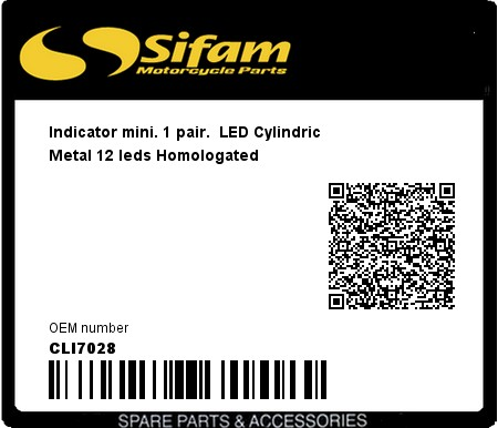 Product image: Sifam - CLI7028 - Indicator mini. 1 pair.  LED Cylindric Metal 12 leds Homologated
