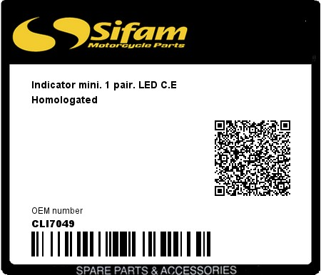 Product image: Sifam - CLI7049 - Indicator mini. 1 pair. LED C.E Homologated