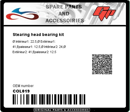 Product image: Kyoto - COL019 - Stearing head bearing kit