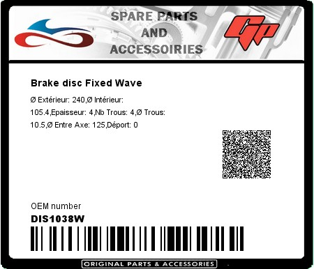 Product image: Kyoto - DIS1038W - Brake disc Fixed Wave