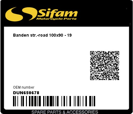 Product image: Sifam - DUN650678 - Banden str.-road 100x90 - 19