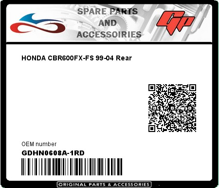 Product image: Goodridge - GDHN0608A-1RD - HONDA CBR600FX-FS 99-04 Rear