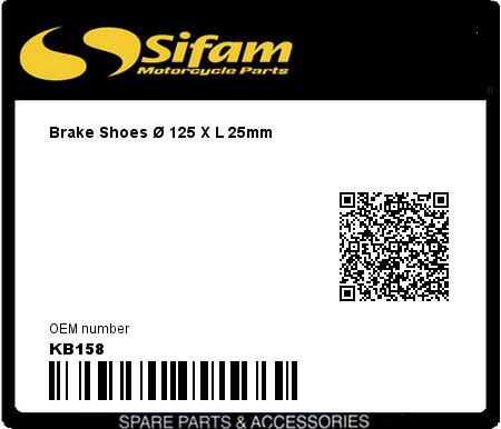 Product image: Sifam - KB158 - Brake Shoes Ø 125 X L 25mm