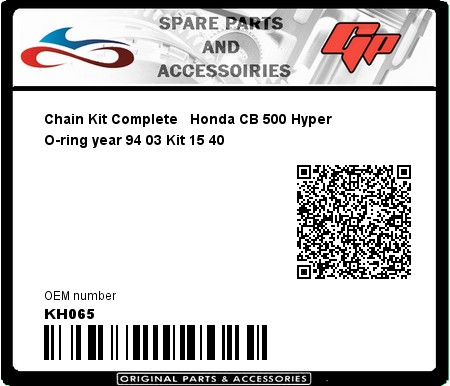 Product image: Regina - KH065 - Chain Kit Complete   Honda CB 500 Hyper O-ring year 94 03 Kit 15 40