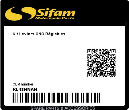 Product image: Sifam - KL43NNAN - Kit Leviers CNC Réglables