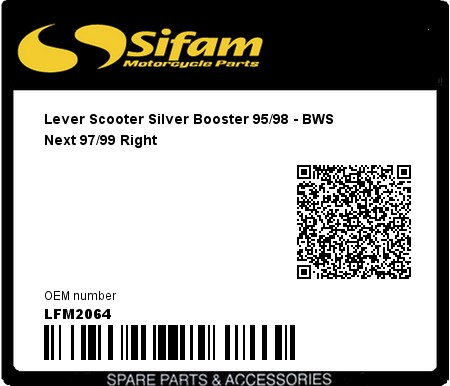 Product image: Sifam - LFM2064 - Lever Scooter Silver Booster 95/98 - BWS Next 97/99 Right
