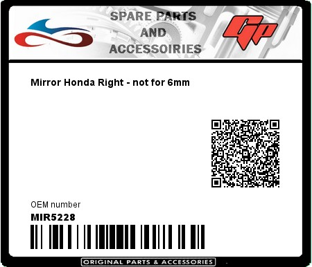 Product image: Far - MIR5228 - Mirror Honda Right - not for 6mm