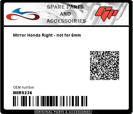 Product image: Far - MIR5236 - Mirror Honda Right - not for 6mm