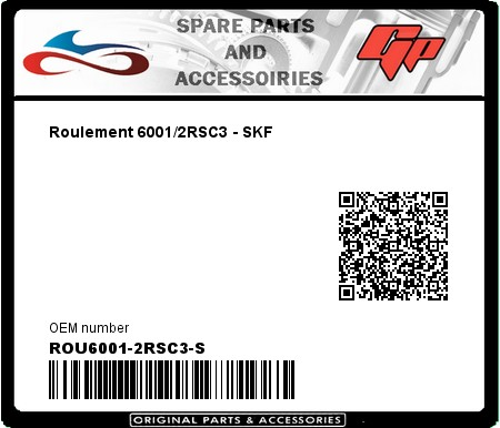 Product image: Skf - ROU6001-2RSC3-S - Roulement 6001/2RSC3 - SKF