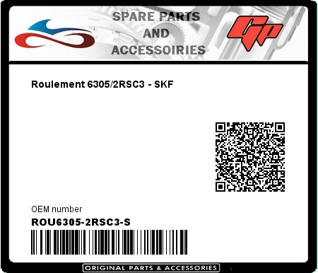 Product image: Skf - ROU6305-2RSC3-S - Roulement 6305/2RSC3 - SKF